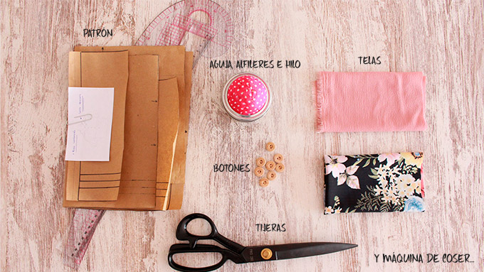 Materiales para coser blusa