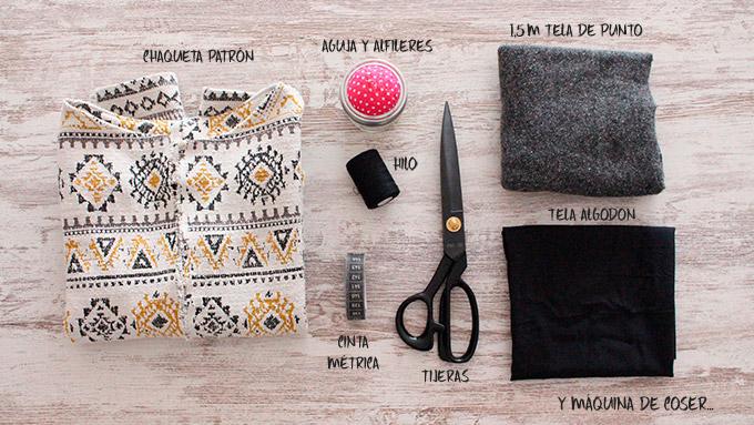 materiales para hacer chaqueta