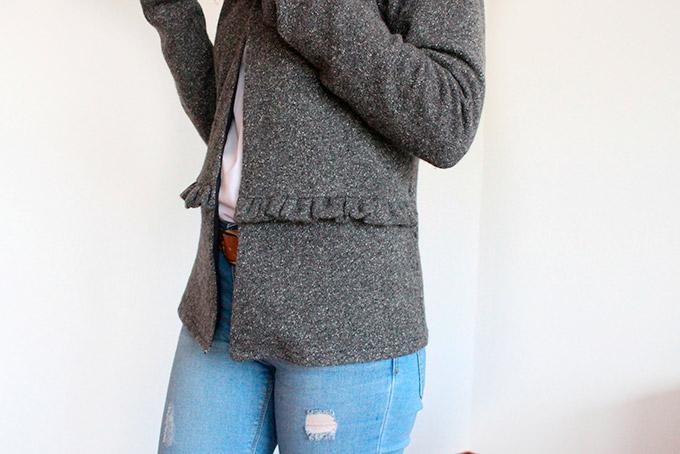 detalle volante de la chaqueta en a cintura
