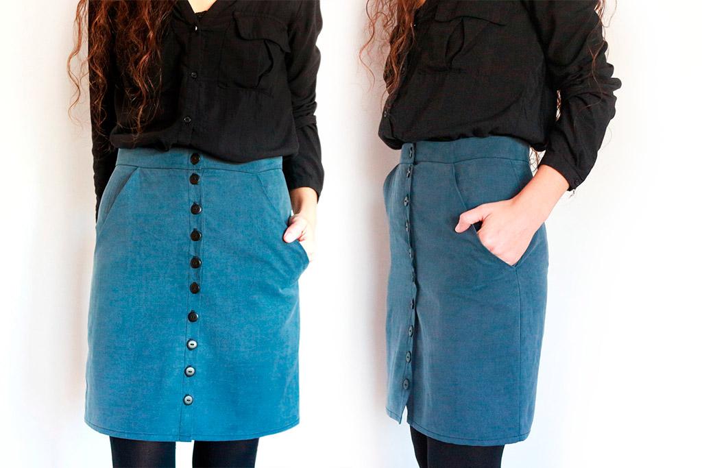falda con botones y bolsillos diagonales