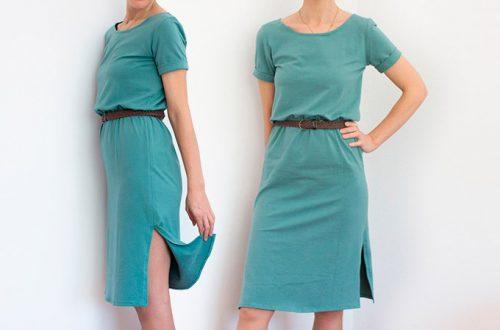 vestido camiseta con bajo vuelto en las mangas y abertura en el bajo del vestido